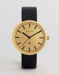Newgate Drummer Black Leather Watch With Gold Dial Black