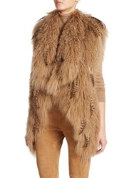 Ralph Lauren Embellished Mongolian Lamb Fur Vest Light Camel