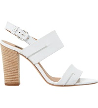 Dune Jennifer Reptile Leather Sandals White Leather