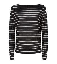 Vince Boat Neck Striped Cashmere Sweater Female Black