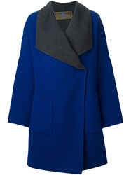Etro Contrasting Collar Oversized Coat Blue