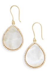 Susan Hanover Women's Small Semiprecious Stone Teardrop Earrings Mother Of Pearl Gold