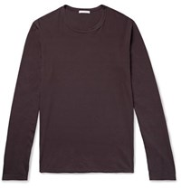 James Perse Combed Cotton Jersey T Shirt Dark Purple