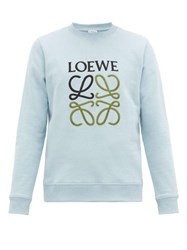 Loewe Anagram Embroidered Loopback Cotton Sweatshirt Light Blue
