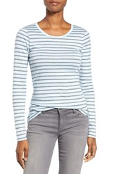 Caslonr Women's Caslon Long Sleeve Scoop Neck Cotton Tee Blue Grey Stripe