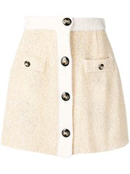 Alessandra Rich Button Up Knitted Skirt Yellow