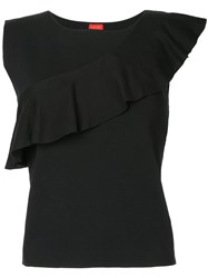 Des Pres Frill Trim Sleeveless Knit Top Black