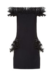 Christopher Kane Off The Shoulder Ruffled Mini Dress Black