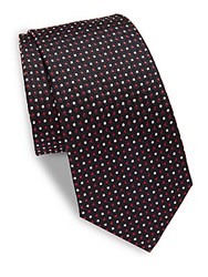 Moschino Printed Silk Tie Navy Red