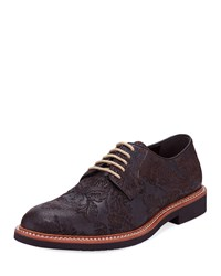 Tallia Frederico Embossed Leather Oxfords Brown
