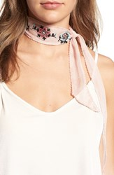 Hinge Women's Embroidered Skinny Scarf Pink Combo