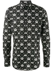 Dolce And Gabbana Crown Print Shirt Black