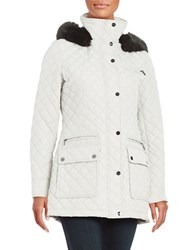 Calvin Klein Faux Fur Trimmed Quilted Coat White