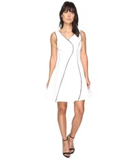 Adelyn Rae Linsey Knit Ponte Fit And Flare Dress White Black Women's Dress