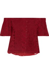 W118 By Walter Baker Elliot Off The Shoulder Broderie Anglaise Cotton Top Claret