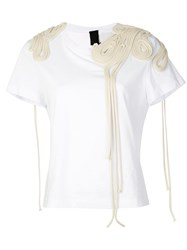 Vera Wang Corded Embroidery T Shirt White