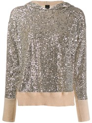 Pinko Asymmetric Sequined Hooded Sweater Neutrals