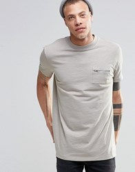 Asos Longline Military T Shirt With Pocket Detail In Textured Grey Grey