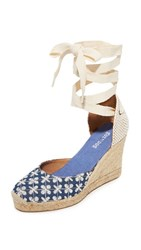 Soludos Pattern Tall Wedge Espadrilles Denim