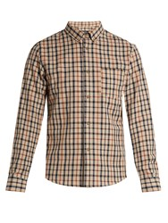A.P.C. Checked Cotton And Linen Blend Shirt Beige Multi