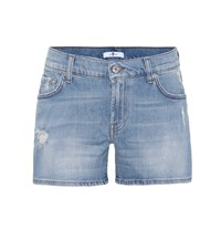 7 For All Mankind Mid Rise Denim Shorts Blue
