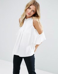 Asos Cold Shoulder Blouse With High Neck And Pintuck Detail Ivory Cream