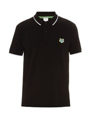Kenzo Logo Embroidered Cotton Pique Polo Shirt Black