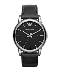 Emporio Armani Mens Luigi Silvertone And Black Round Watch