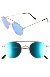 Spektre Women's Caligola 50Mm Aviator Sunglasses Matte Gold Blue Mirror Matte Gold Blue Mirror