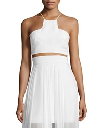 Milly Sleeveless Silk Halter Crop Top Size 0 White