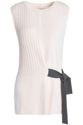 Charli Paneled Ribbed And Stretch Knit Top Pastel Pink