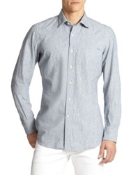 Slowear Striped Cotton Sportshirt Light Blue