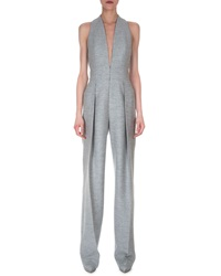 Akris Deep V Neck Wide Leg Jumpsuit Gravel