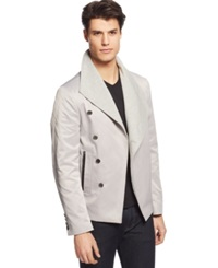 Edge By Wd Ny Asymmetrical Pea Coat Blazer Light Grey