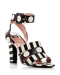 Boutique Moschino Ankle Strap Sandals Polka Dot High Heel Black White
