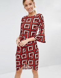 Closet London Geometric Print Drape Wrap Dress Red Black White