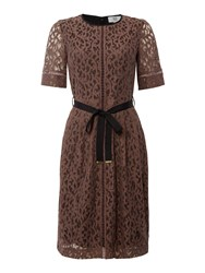 Noa Noa Lace Dress With Short Sleeve And Belt Purple