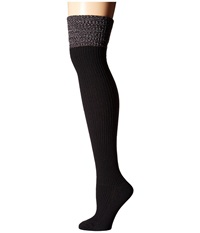 Hue Ribbed Over The Knee W Space Dyed Top Black Women's Knee High Socks Shoes