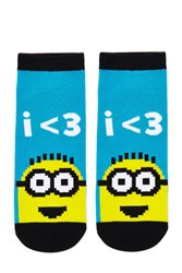Forever 21 Minion Graphic Ankle Socks Blue Multi