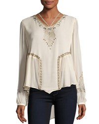 Haute Hippie Galaxy Long Sleeve Embellished Silk Top Antique White