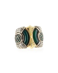 Silver And Gold Green Agate Band Ring Konstantino