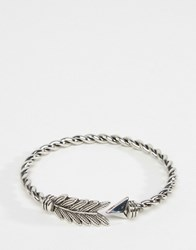 Asos Twisted Arrow Open Cuff Bracelet Rhodium Silver