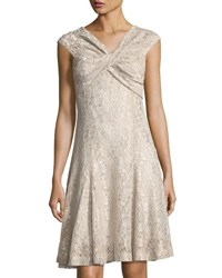 Tahari By Arthur S. Levine Twist Top Lace Dress Champagne