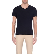 Sandro Linen T Shirt Navy Blue