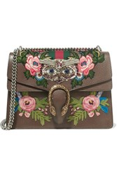 Gucci Dionysus Medium Appliqued Embellished Leather Shoulder Bag Brown