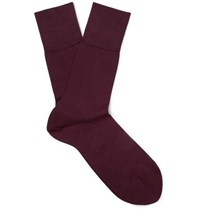 Falke Tiago Stretch Cotton Blend Socks Burgundy