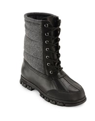 Lauren Ralph Lauren Quinlyn Leather Mid Calf Boots Black Grey