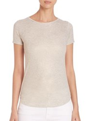 Saks Fifth Avenue X Majestic Filatures Metallic Crewneck Tee Noir Pale Gold