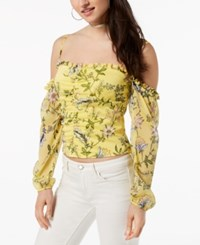 Guess Natassia Floral Print Off The Shoulder Top Ivy Floral Taffy Yellow