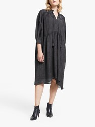 And Or Gina Santiago Jacquard Print Dress Charcoal